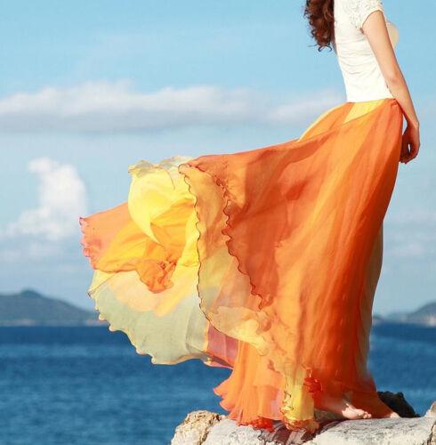 Gonna Lunga Vestito Maxi Skirt Dress Chiffon Estate Summer Mare Casual A130001