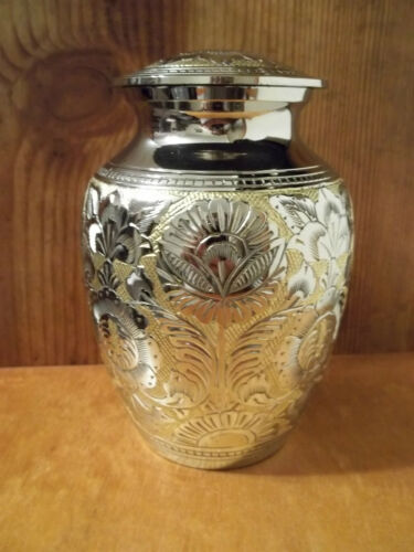 "Gorgeous Silver & Gold Small Brass Urn~6""~up to 40 lbs~People or Pets. in Everything Else, Funeral & Cemetery, Cremation Urns 