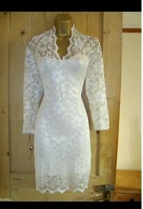White Pencil Dress on Gorgeous White Lace Fully Lined Wiggle Pencil Long Sleeved Dress Size