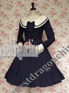 Gothic-Lolita-Cosplay-Kostueme-Kleid-Blau-Massanfertigung-Halloween-B23