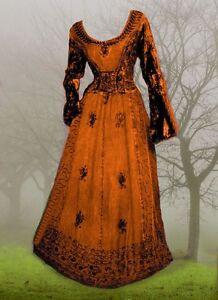 Gothic mittelalter kleid samt bestickt mit schnuerung kupfer rost 38