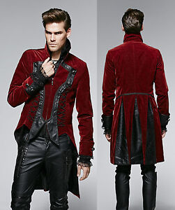 gothic punk rave jacke herren rot mantel red black frack. Black Bedroom Furniture Sets. Home Design Ideas