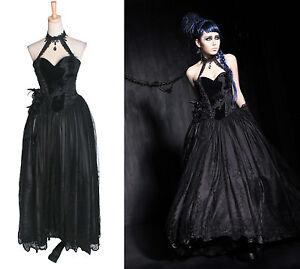 gothic punk rave kleid neckholder lang schwarz. Black Bedroom Furniture Sets. Home Design Ideas