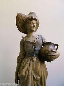 Gr-Goldscheider-Skulptur-Maedchen-Terrakotta-Jugendstil-Art-Nouveau-65-cm-hoch