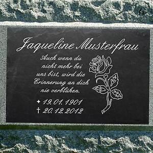 grabstein schiefer stein grab tafel mit rose 001 mit ihrem text 40 x 25 cm ebay. Black Bedroom Furniture Sets. Home Design Ideas