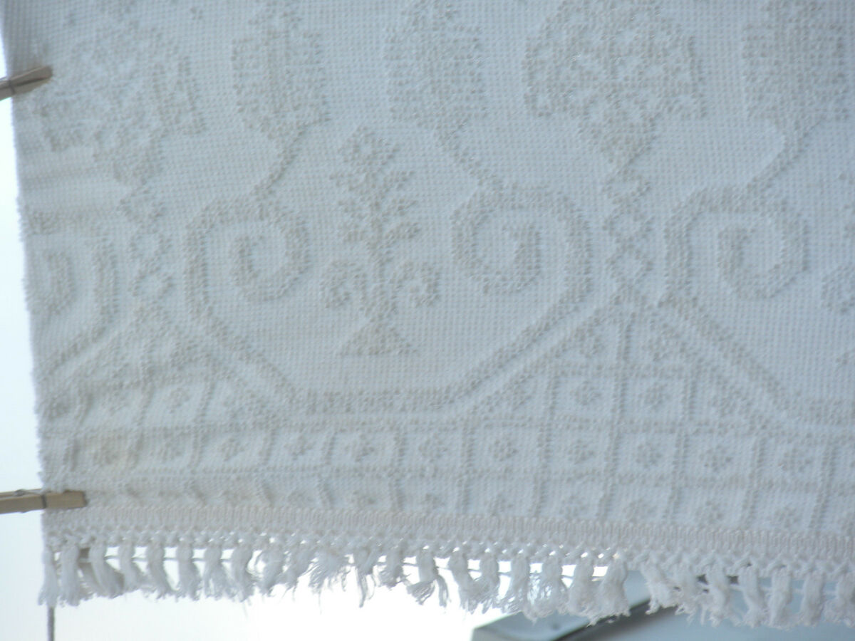 Great Old Fashioned Cotton Chenille Bedspread King Size Imperfect as Is