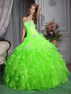 Green Ball Gown Prom Dress Voile Sweetheart Evening/Party/Quinceanera Dress in Clothing, Shoes & Accessories, Wedding & Formal Occasion, Wedding Dresses | eBay