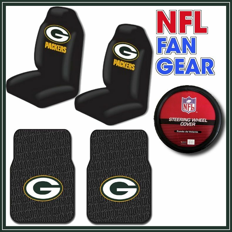 green bay packer 5pc car seat pair steering wheel covers rubber floor mats nfl ebay