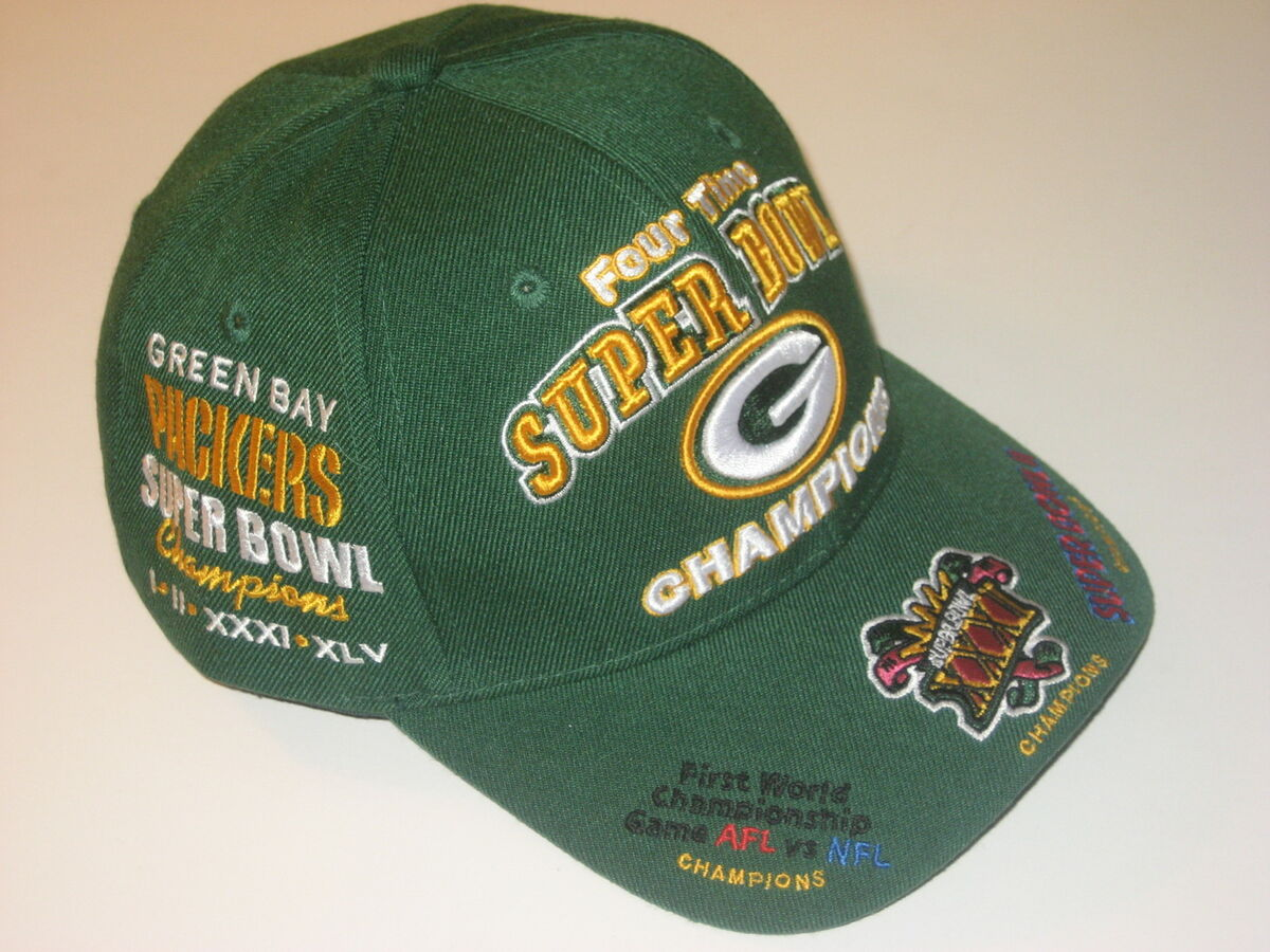 Green Bay Packers 4 Times Super Bowl Champions Adult Cap Hat on ... 80623b170