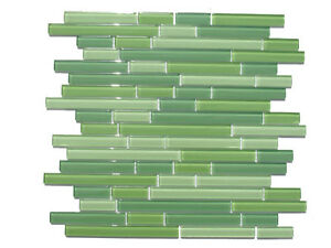 Green Horizontal Sleek Mosaic Glass Tile Sample Kitchen Backsplash