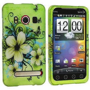 Green-Spring-Flower-Butterflies-Hard-Case-Cover-for-HTC-Sprint-EVO-4G