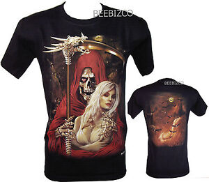 grim reaper biker lady glow in the dark tattoo t shirt m xxl ebay. Black Bedroom Furniture Sets. Home Design Ideas