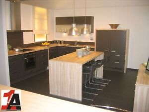 grosse impuls wohnk che mit inselblock zum spitzenpreis quarzgrau. Black Bedroom Furniture Sets. Home Design Ideas