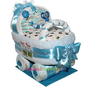 gro er windelwagen boy niedliches geschenk zur geburt taufe windeltorte ebay. Black Bedroom Furniture Sets. Home Design Ideas