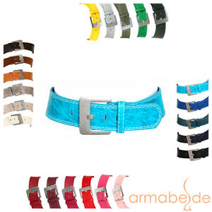 Guertel-6-cm-breit-Damen-Herren-Jeans-unifarben-grosse-Schnalle-matt-Basic-Taille