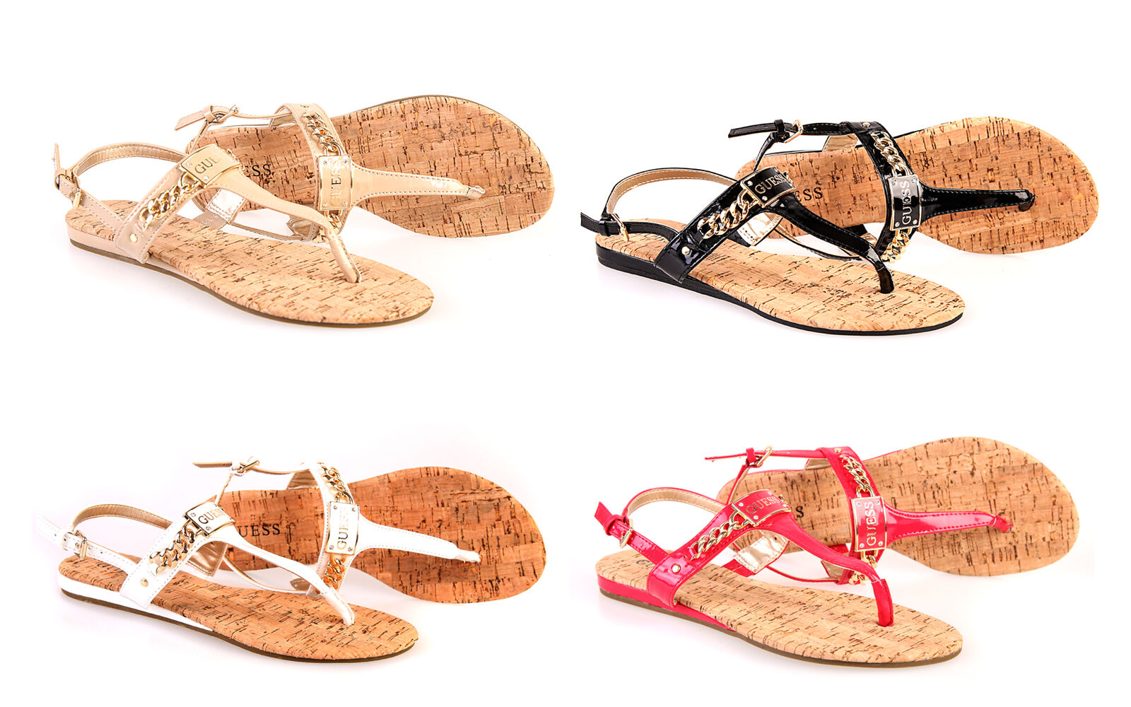 guess damen sandale flip flop sommerschuhe zehensandale kork 4 farben all sizes. Black Bedroom Furniture Sets. Home Design Ideas