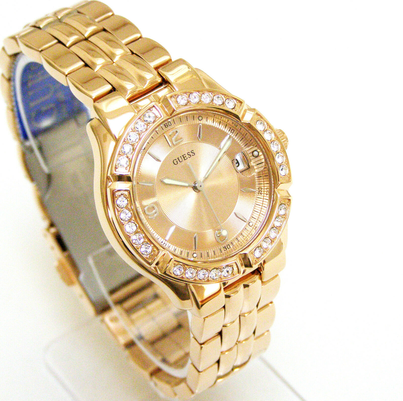 Guess Women Rose Gold Watch Crystals Date Rose Gold Face