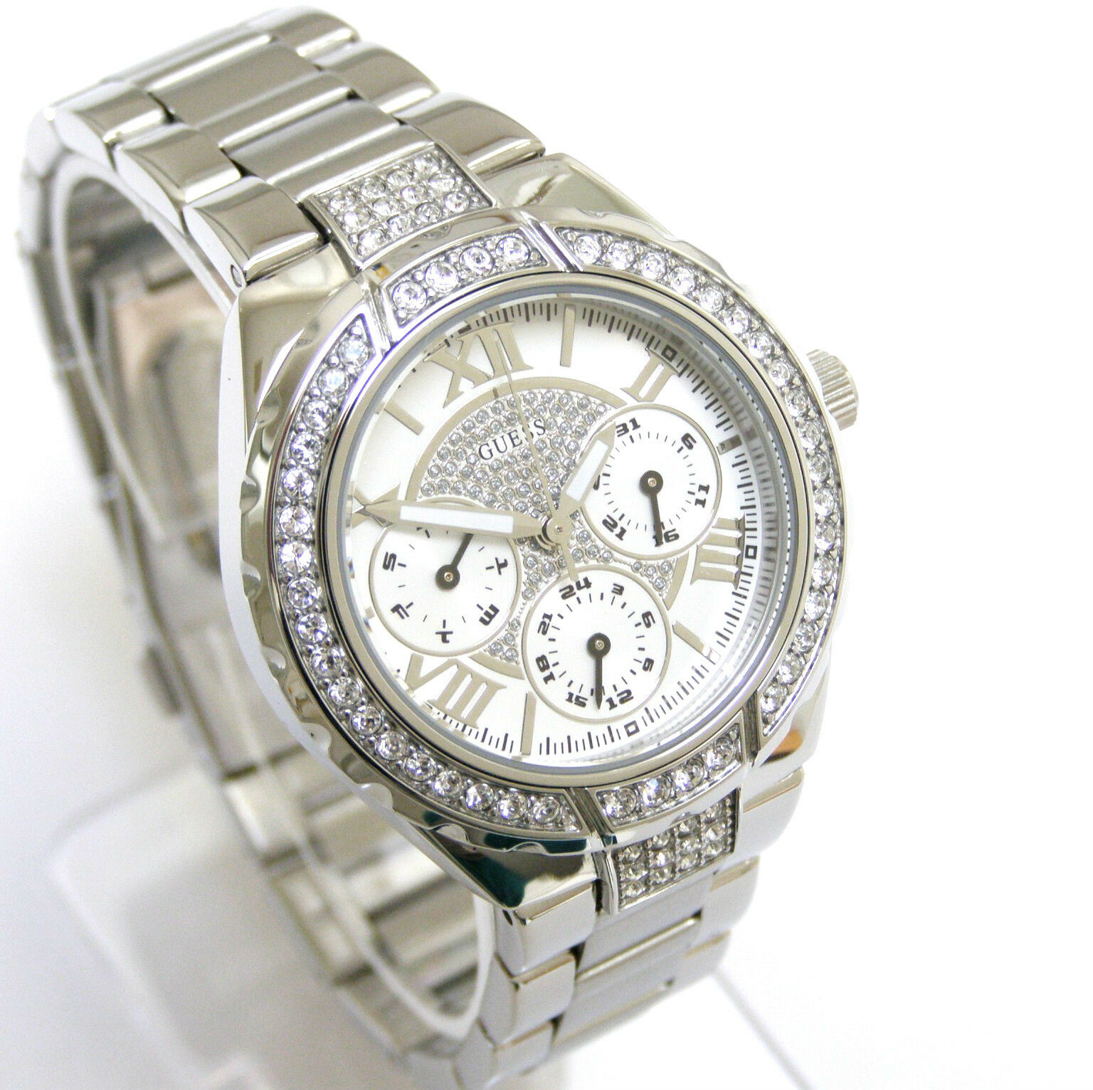Guess Women Watch Crystals Multiple Dial Silver Face