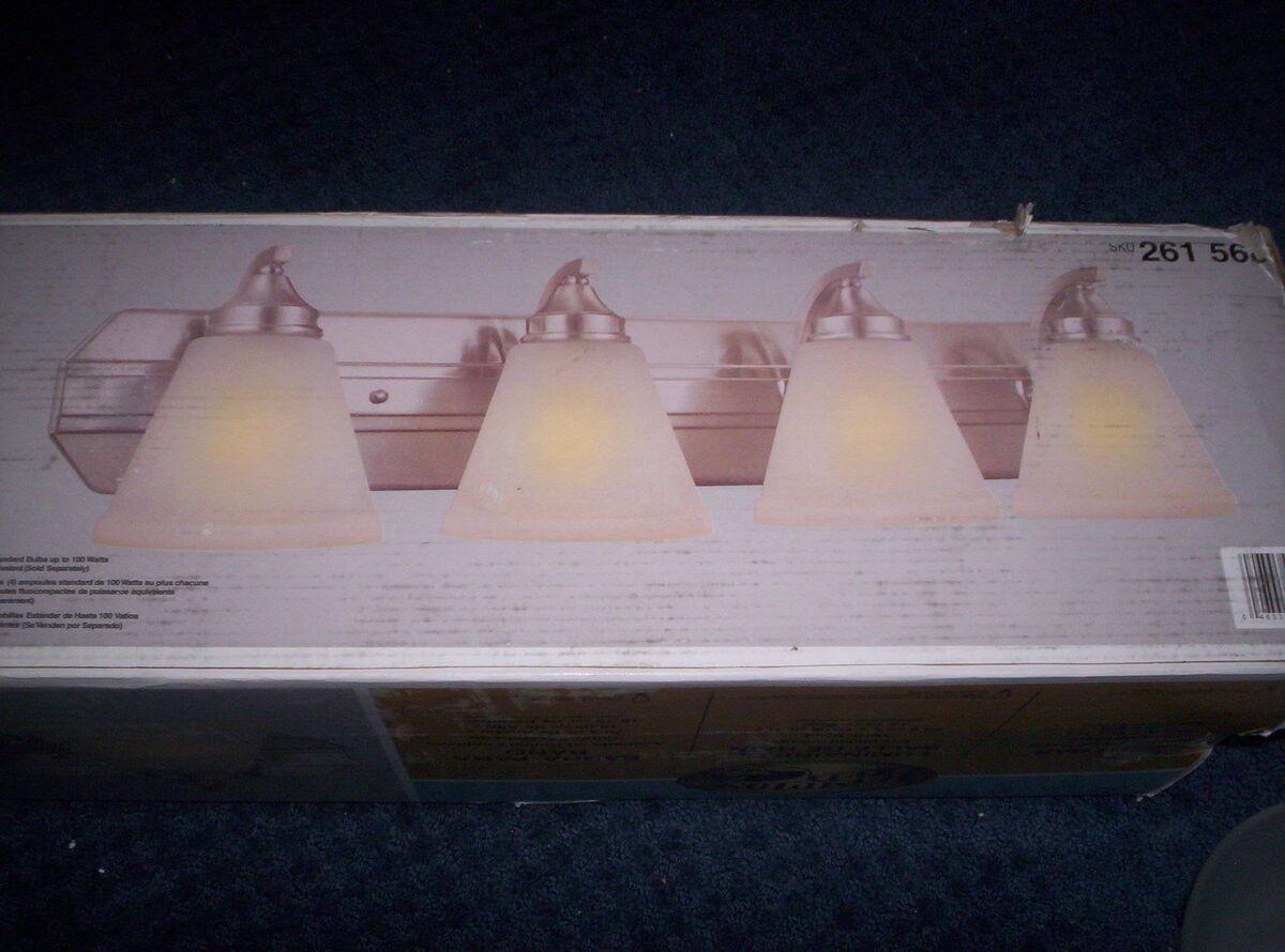 Hampton Bay 4 Light Brushed Nickel Bath Vanity Light Fixture