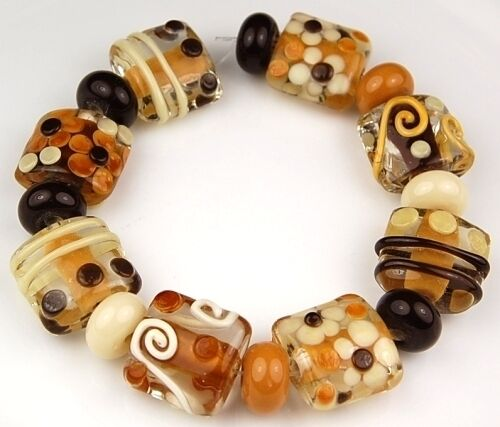 HANDMADE LAMPWORK GLASS BEADS Coffee Time Floral 16pcs in Jewelry & Watches, Loose Beads, Handmade Lampwork | eBay