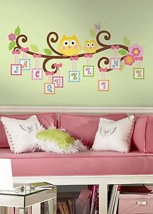 Happi scroll tree letters branch 98 big wall decals owls room decor