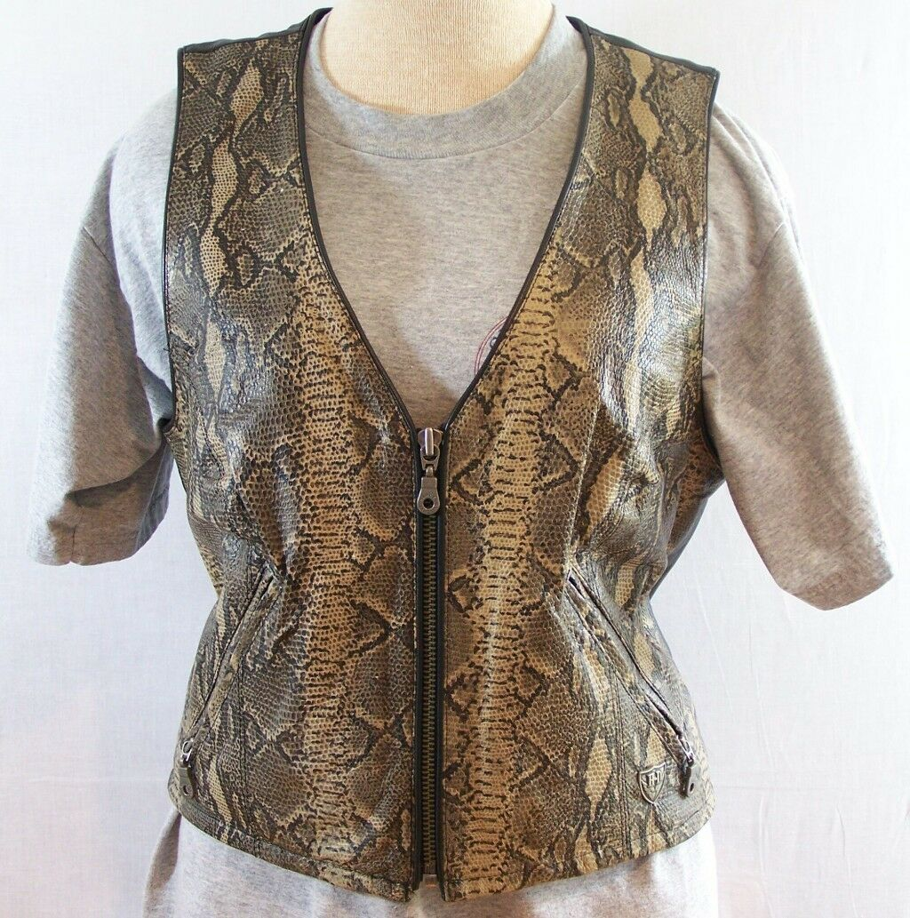 Harley Davidson Womens Leather Vest Snake Print Bike Rider Motorcycle