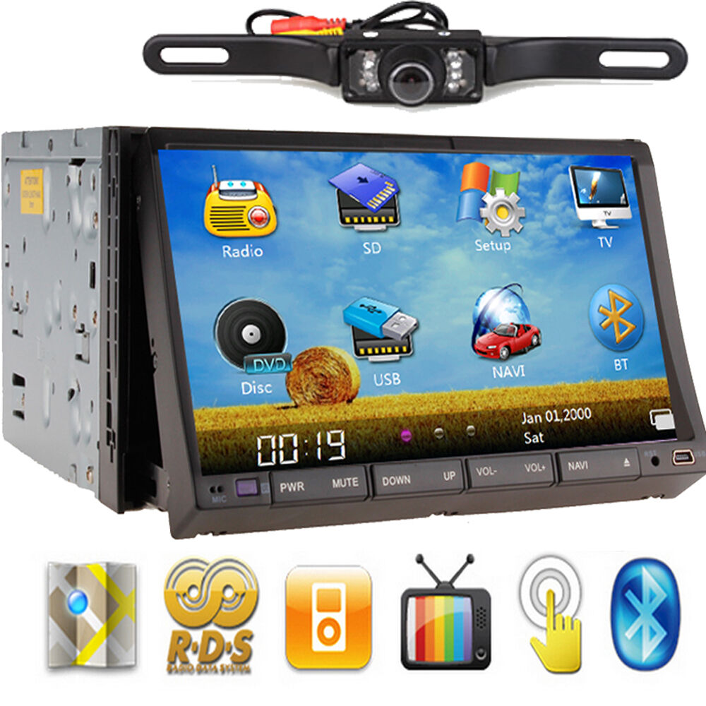 HD 7 inch Double DIN Car Stereo DVD Player GPS Nav Cam Bluetooth iPod FM SD Port