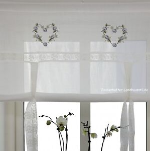 heart blau raff gardine 100 120 140 160 cm breit shabby chic vintage curtain ebay. Black Bedroom Furniture Sets. Home Design Ideas