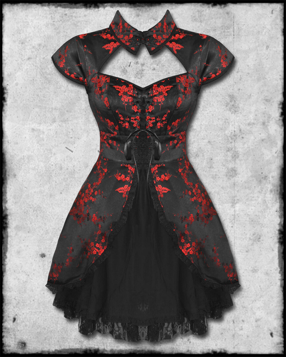 Black red chinese floral rose satin goth steampunk mini dress