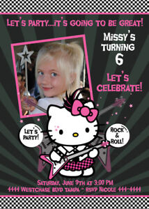 Hello Kitty Birthday Invitations Custom Photo U Print | eBay