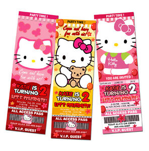 Hello Kitty Birthday Party Invitation Ticket Custom Card Invites Customizable | eBay
