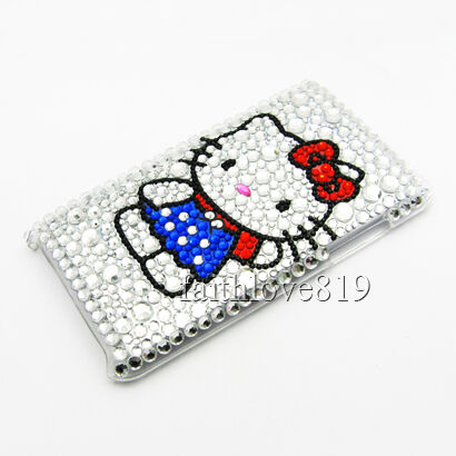 HELLO KITTY BLING DIAMOND CASE HARD COVER FOR IPOD TOUCH 3 Gen 3G 3RD