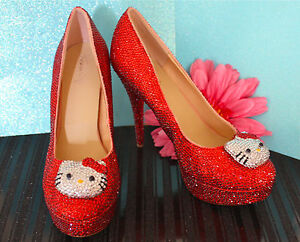 Hello Kitty Red Glass Crystal High Heel Bridal Platform ...  Hello Kitty Red...