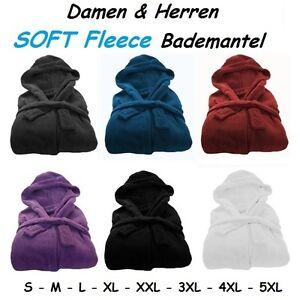 HERREN-DAMEN-Microfaser-Soft-Fleece-Bademantel-Kapuze-Taschen-Morgenmantel