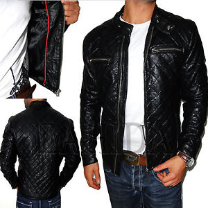 herren kunst leder jacke lederjacke look mantel motorrad blazer s m l. Black Bedroom Furniture Sets. Home Design Ideas