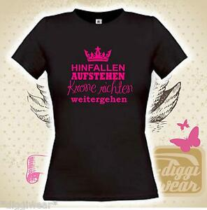 hinfallen aufstehen krone richten weitergehen prinzessin girly fun shirt s xxl ebay. Black Bedroom Furniture Sets. Home Design Ideas