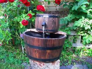 HOLZ FASS GARTENBRUNNEN Zierbrunnen - Brunnen 6Watt NEU  eBay