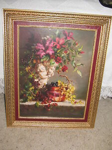 homco home interior fruit floral cherub planter picture