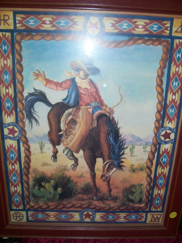 HOME INTERIOR PICTURE OF COWBOY ON BUCKING HORSE