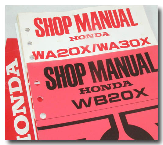 Honda Parts WA20X WA30X WB20X WA20 WA30 x Water Pump Shop Service Repair Manual