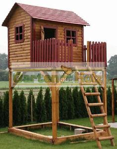 HOQ-Spielturm-Kinderhaus-Stelzenhaus-Spielhaus-Baumhaus-aus-Holz-NEU