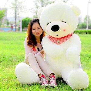 "HOT NEW GIANT BIG PLUSH SLEEPY TEDDY BEAR HUGE SOFT 100% COTTON WHITE COLOR 39 "" in Dolls & Bears, Bears, Other | eBay"