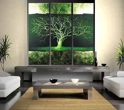 HOT SALE 3PC Green trees MODERN ABSTRACT HUGE WALL ART OIL PAINTING ON CANVAS in Art, Wholesale Lots, Paintings | eBay