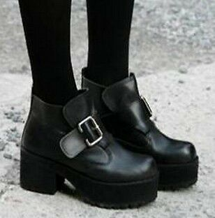 HOT WOmen's Black Punk Gothic Buckle Strap Chunky Heels Platform Ankle Boots