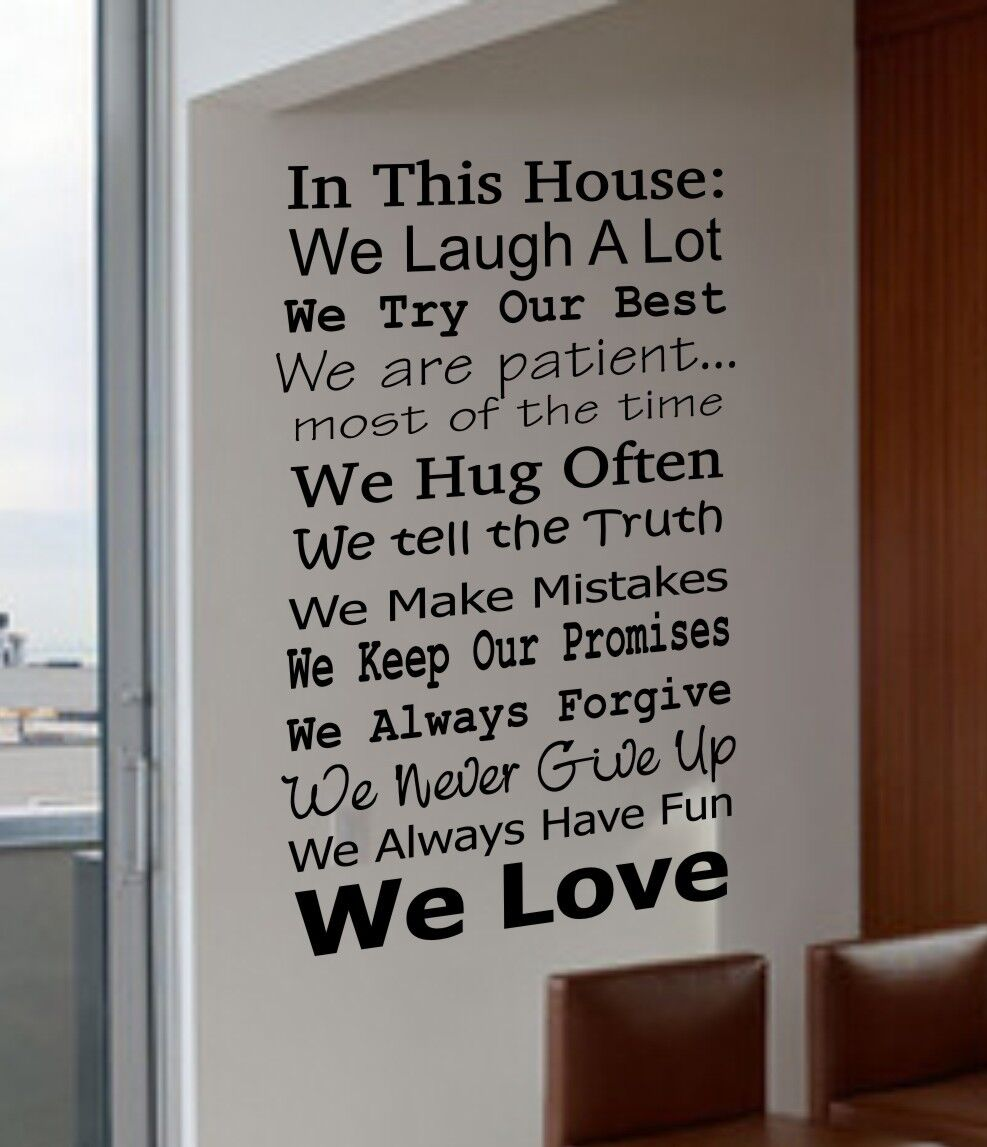 IN THIS HOUSE FAMILY WE DO LOVE FUN REAL V4 Quote Vinyl Wall Decal