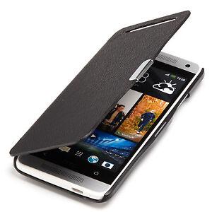 HTC-One-Mini-M4-Slim-Flip-Case-Kunst-Leder-Tasche-Schutz-Huelle-Etui-schwarz