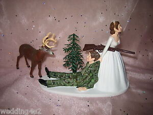 HUMOROUS-WEDDING-CAMO-BUCK-DEER-HUNTER-HUNTING-CAKE-TOPPER