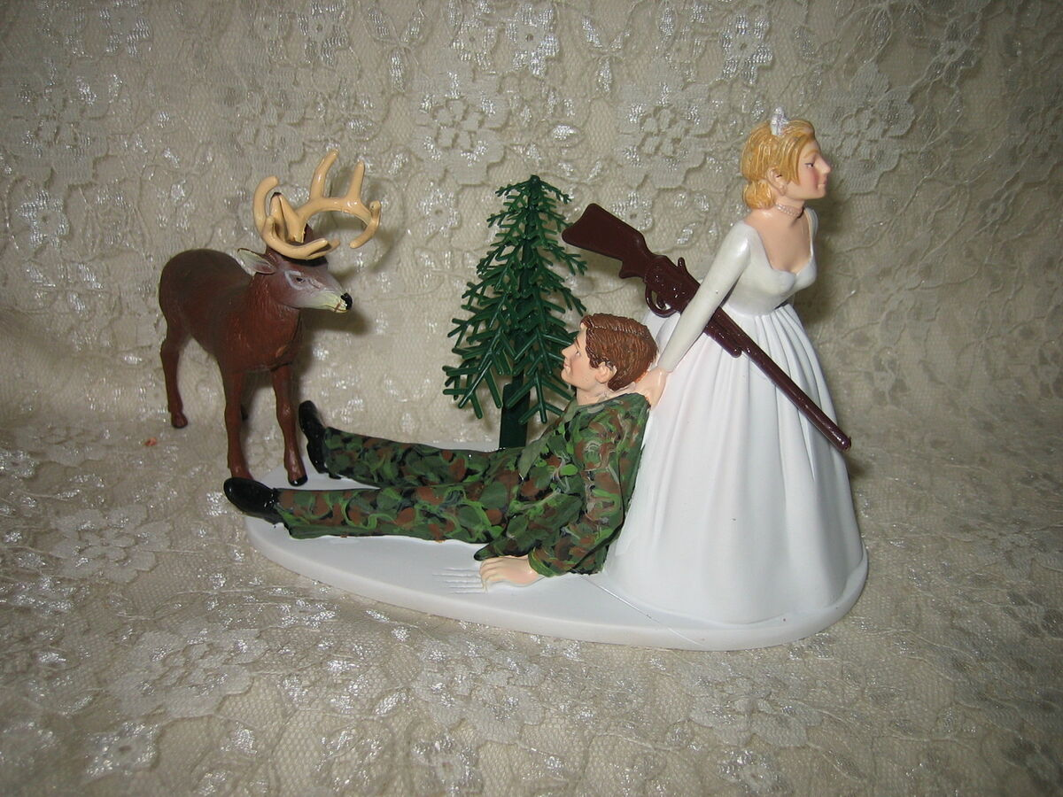 Redneck Wedding Camo Deer Hunter Hunting Cake Topper