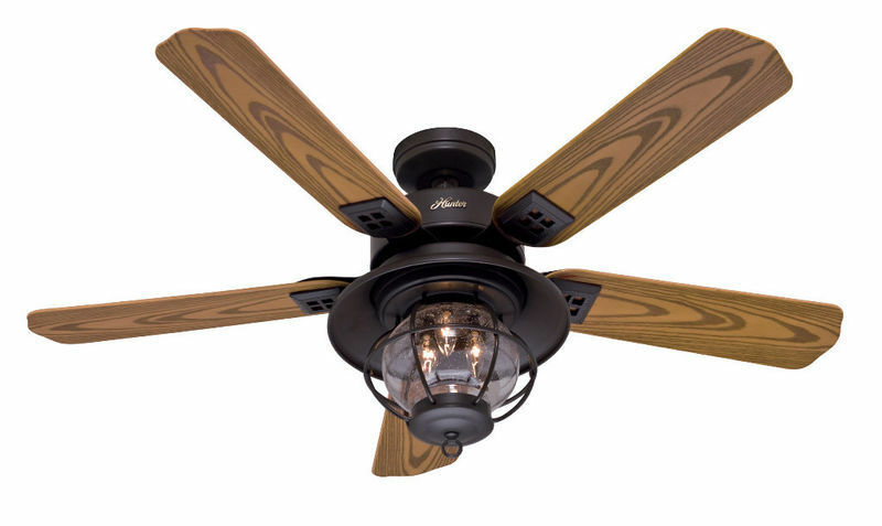 "... 52"" RUSTIC NEW BRONZE INDOOR OUTDOOR DAMP RATED Ceiling Fan WITH LIGHT"