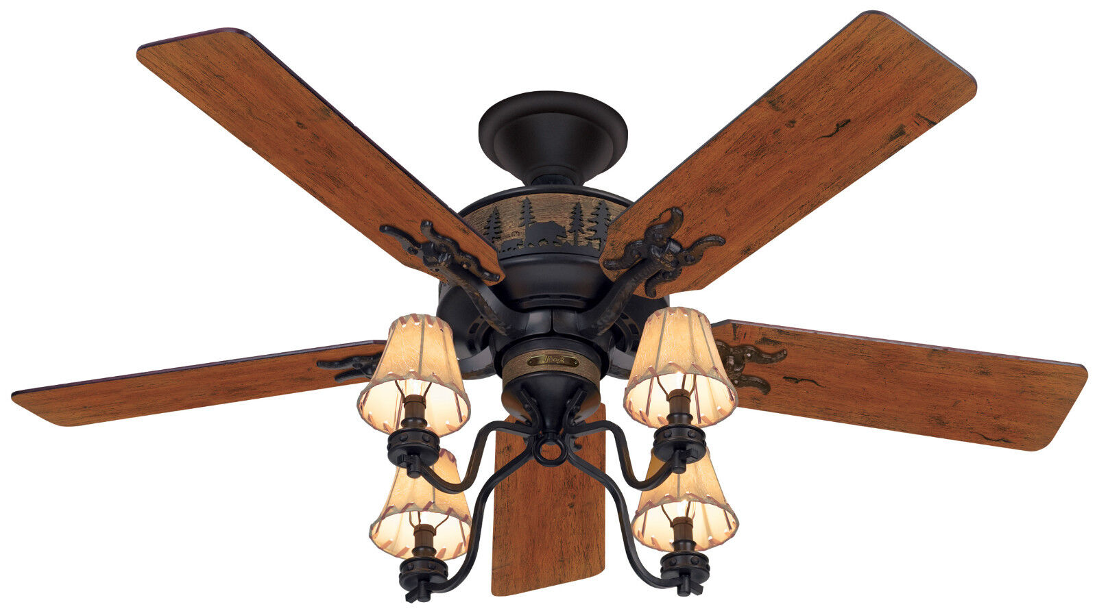 Hunter 52 Rustic Lodge Brittany Bronze 4 Light Fixture
